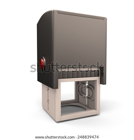 Plastic stamp isolated on white background. 3d render image. Plastic stamp close-up. - stock photo