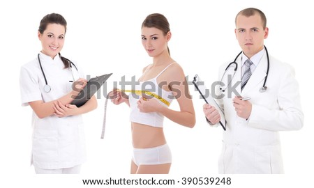 plastic surgery and breast augmentation concept - two doctors and beautiful woman patient isolated on white background - stock photo