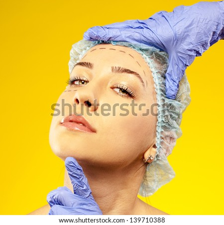 plastic surgery. surgery on the face - stock photo