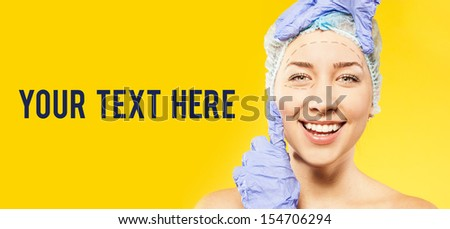 plastic surgery. women face. your text here - stock photo