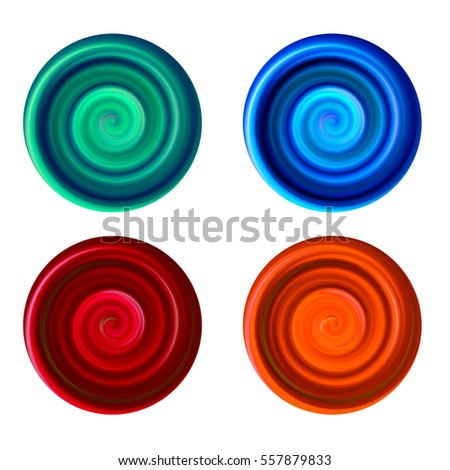 Plastic Swirl Circle Buttons in Green Blue Red and Orange - High resolution illustration for graphic design or background use.