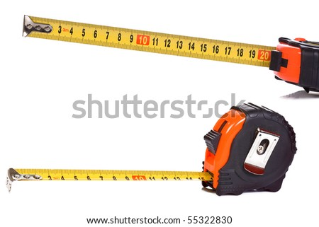 plastic tape measure on white