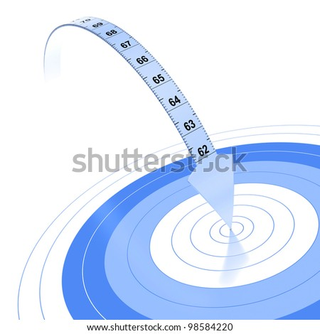 Plastic tape measure with an arrow at the extremity. Blue color over white background with reflection and target - stock photo
