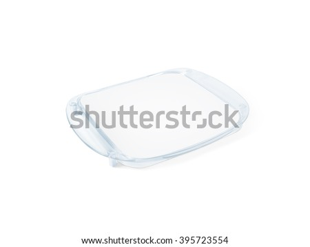 Plastic tip tray with blank paper mockup isolated on white. Clear sheet mock up in acrylic transparent coin holder. Change plate for store branding. Shop identity odd money tray. Plain cash tray. - stock photo