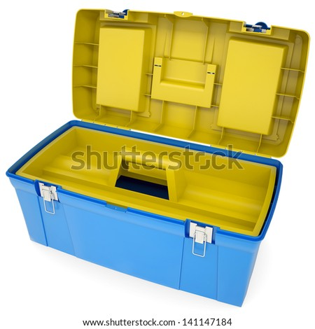 Plastic tool box. Isolated render on a white background