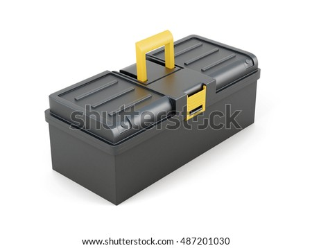 Plastic tool box on white background. 3d rendering.