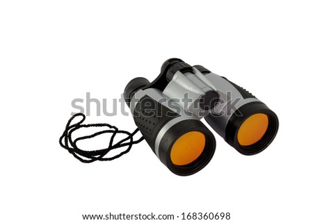 Plastic Toy Binoculars for Kids isolated on white background with clipping path - stock photo