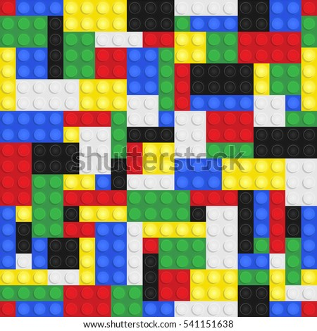 Plastic toy building bricks background. Repeating tileable illustration that repeats left, right, up and down
