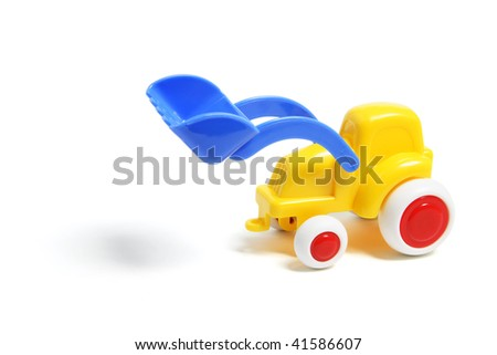 Plastic Toy Earthmover on White Background