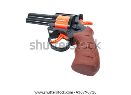 Plastic toy gun for child isolated on white background.Toy gun.Toy hand gun  - stock photo