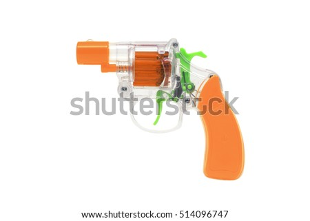 Plastic Toy Gun on a White Background