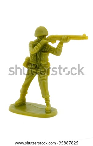 Plastic toy soldier over white