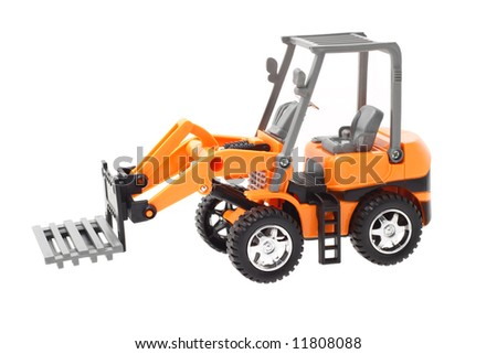 Plastic toy tractor with front end pallet fork attachment