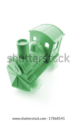 Plastic Toy Train on Isolated White Background