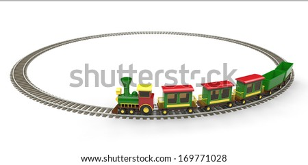 Plastic toy train on white background - stock photo