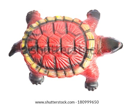 Plastic toy turtle isolated on white
