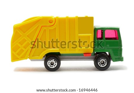 plastic toy van, isolated on white background