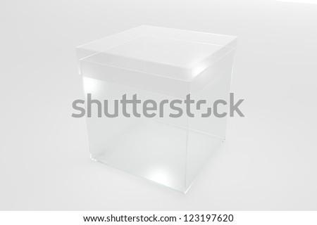 Plastic transparent box on white background - stock photo