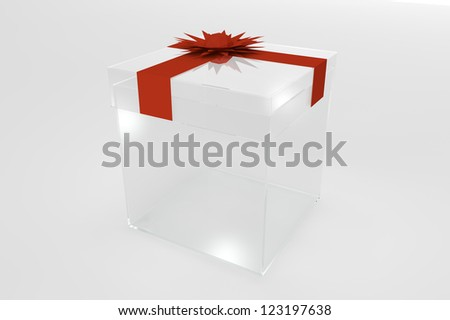 Plastic transparent gift box with red ribbon bow on white background - stock photo