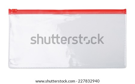Plastic transparent zipper document  bag isolated on white - stock photo
