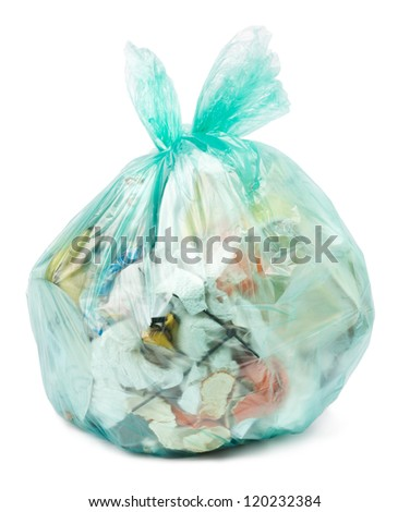 Plastic trash bag on white background - stock photo