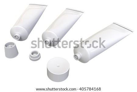 Plastic tubes isolated on white. 3D rendering - stock photo
