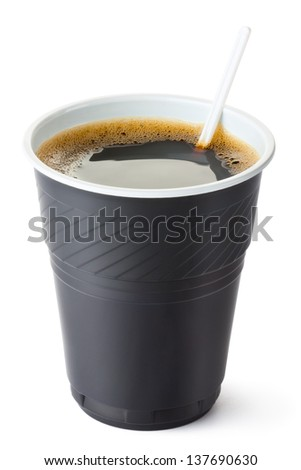 Plastic vending coffee cup. Isolated on a white. - stock photo