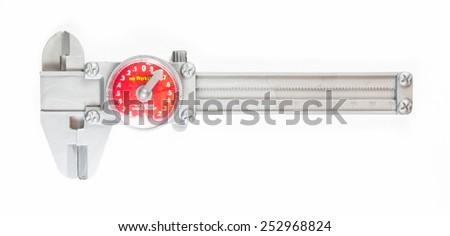Plastic vernier caliper isolated on white background - stock photo