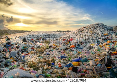 Plastic waste dumping site - stock photo