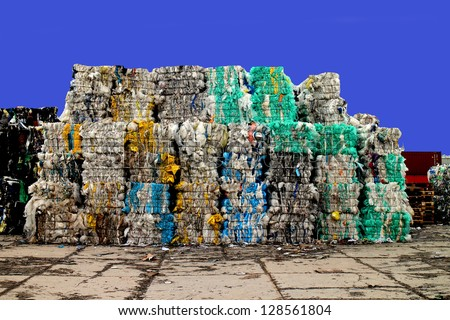 Plastic waste on a recycling site - stock photo