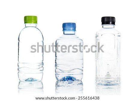 Plastic water bottle isolate on over white background