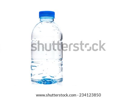 Plastic water bottle isolated on white background
