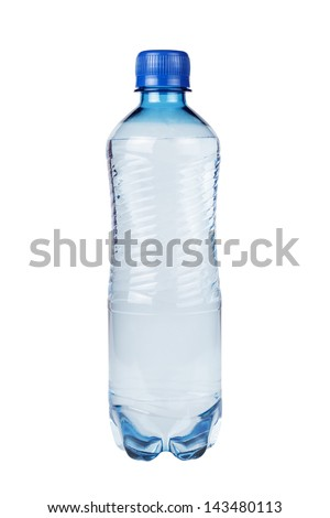 plastic water bottle isolated over white background