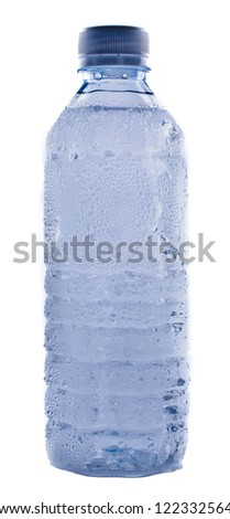Plastic water bottle shows condensation - stock photo