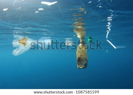 Plastic water bottles and bags environmental pollution