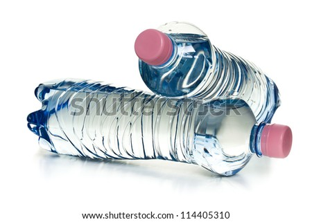 plastic water bottles on white background