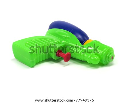 plastic water gun on a white background - stock photo