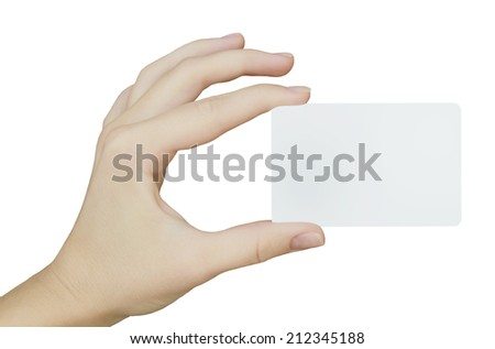 plastic white card on a hand