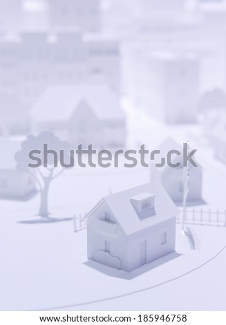 Plastic White Model Houses - stock photo