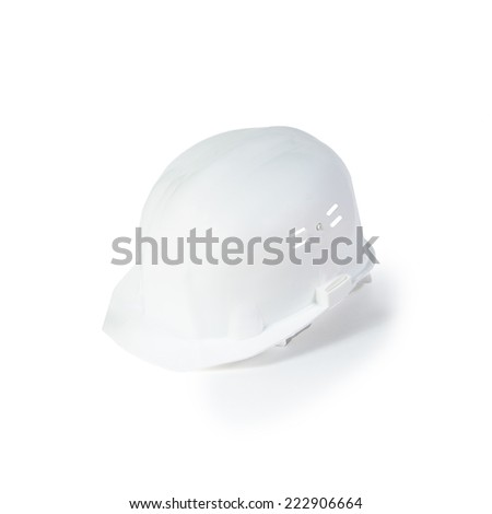 Plastic white safety helmet on white background - stock photo
