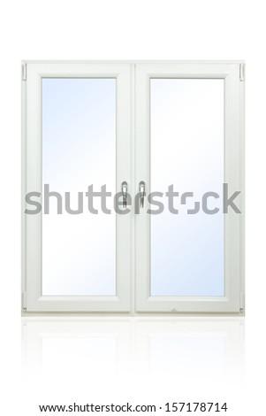 Plastic window isolated on white background - stock photo