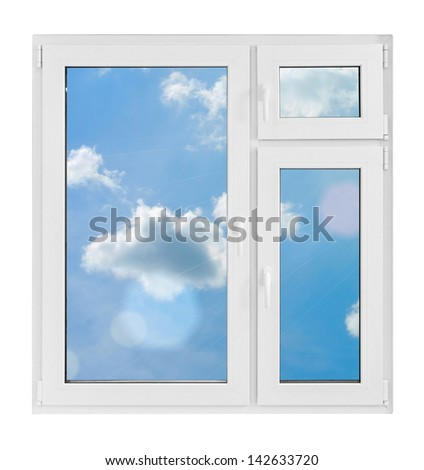 Plastic window with sky on white background - stock photo