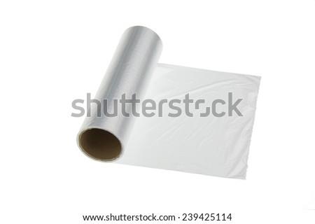 plastic wrap on a white background - stock photo