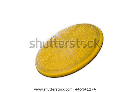 Plastic yellow Shield with button emblem on white background