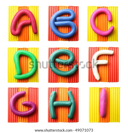 Plasticine alphabet isolated over white background, Letters A-I