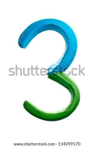 Plasticine alphabet number '3' isolated on white - stock photo