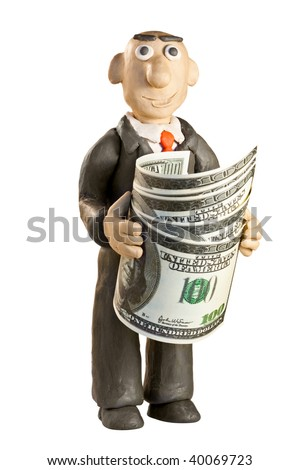 plasticine businessman with money over white background - stock photo