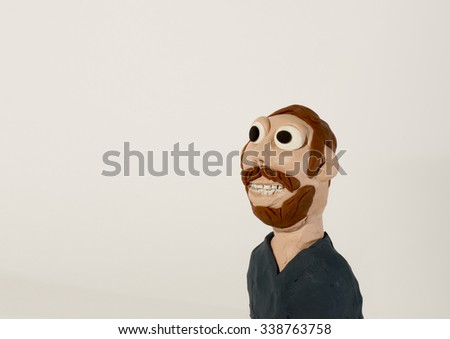 Plasticine character. Man with beard - stock photo