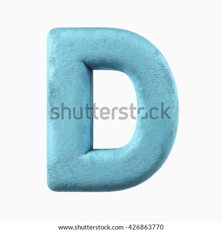 Plasticine Clay Font. D letter. 3d rendering isolated on white background