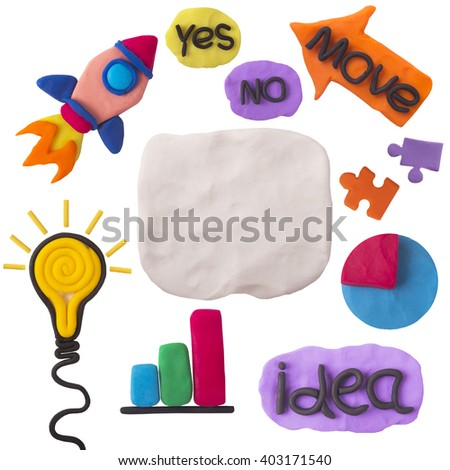 plasticine collage expression of creative ideas on a white background - stock photo